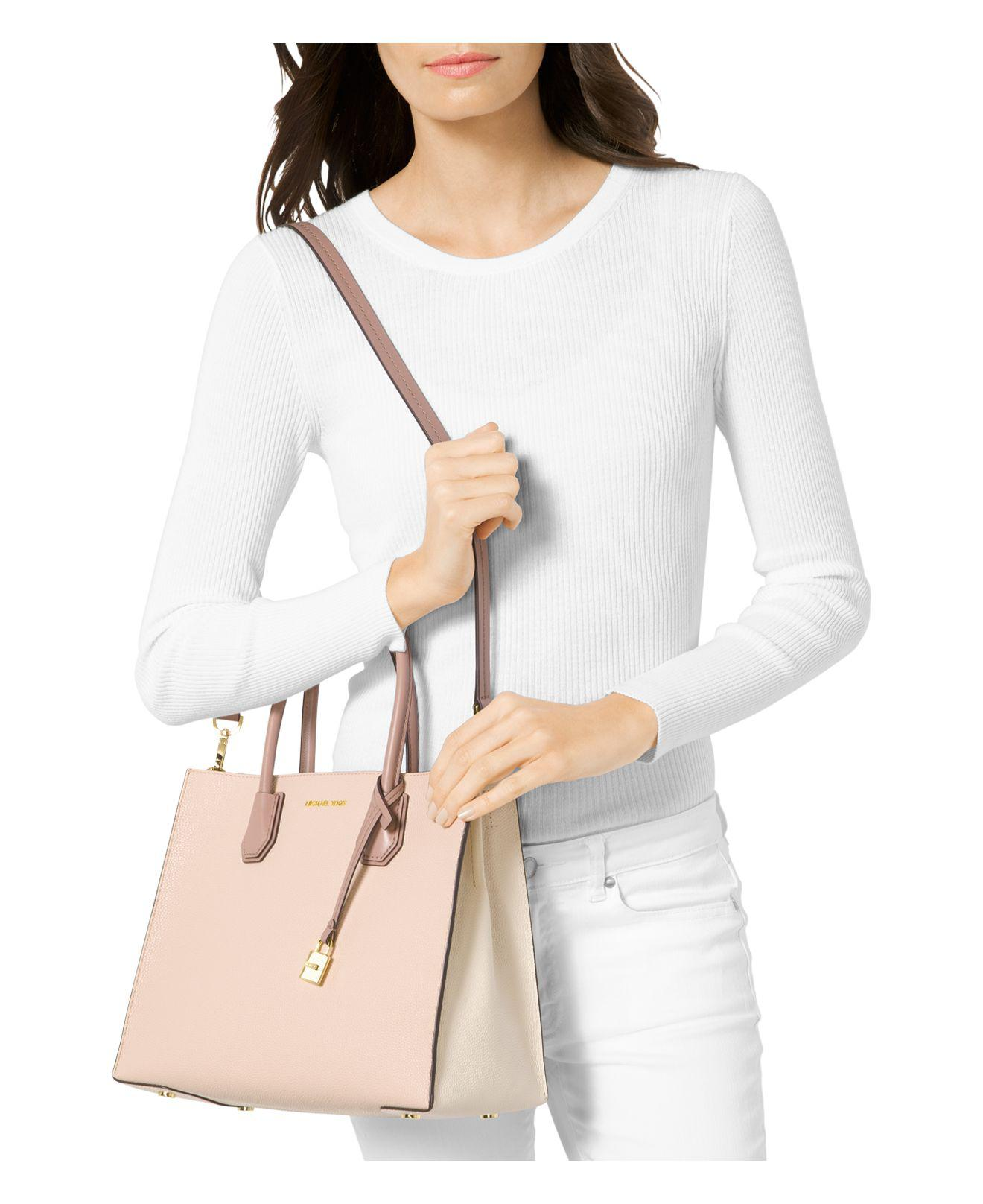 「michael kors mercer large leather tote pink」的圖片搜尋結果
