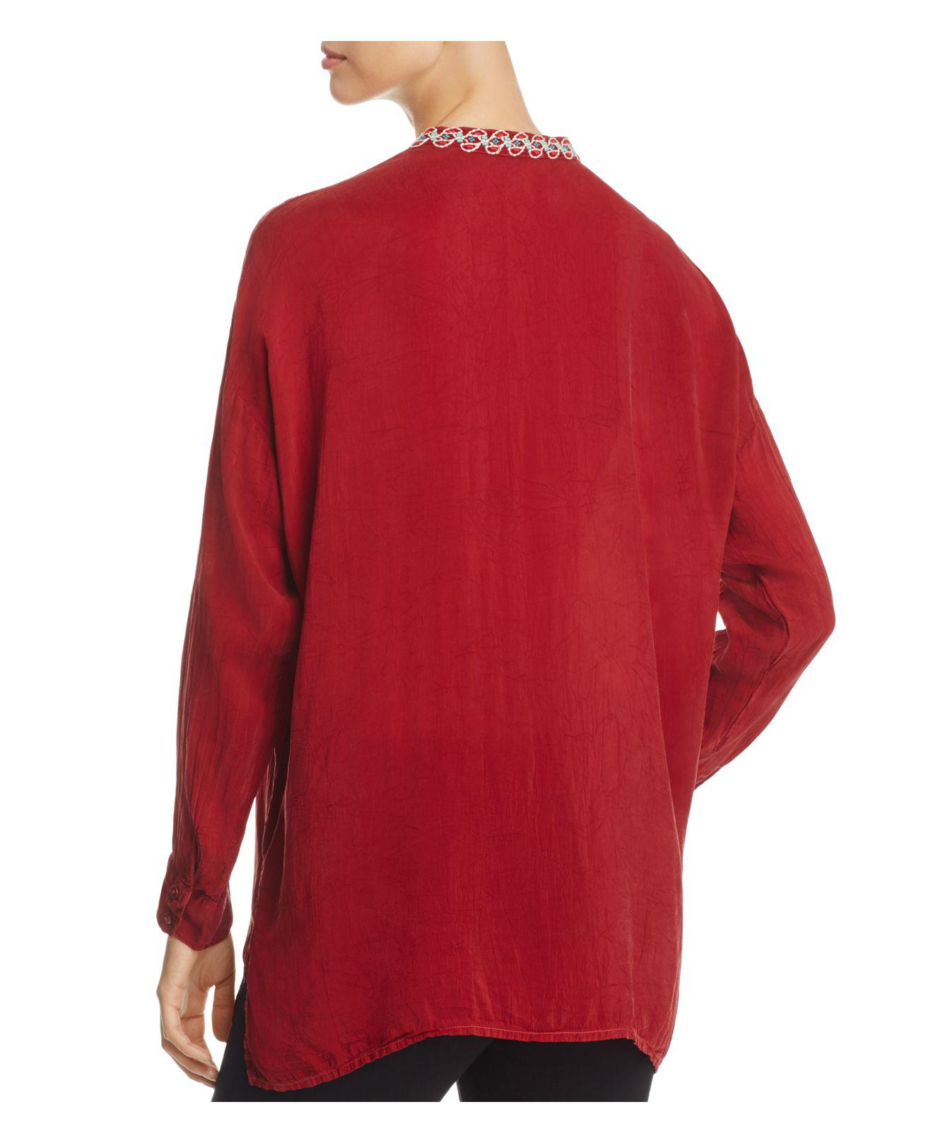 d6421486ff33f Lyst - Johnny Was Gemstone Embroidered Blouse in Red