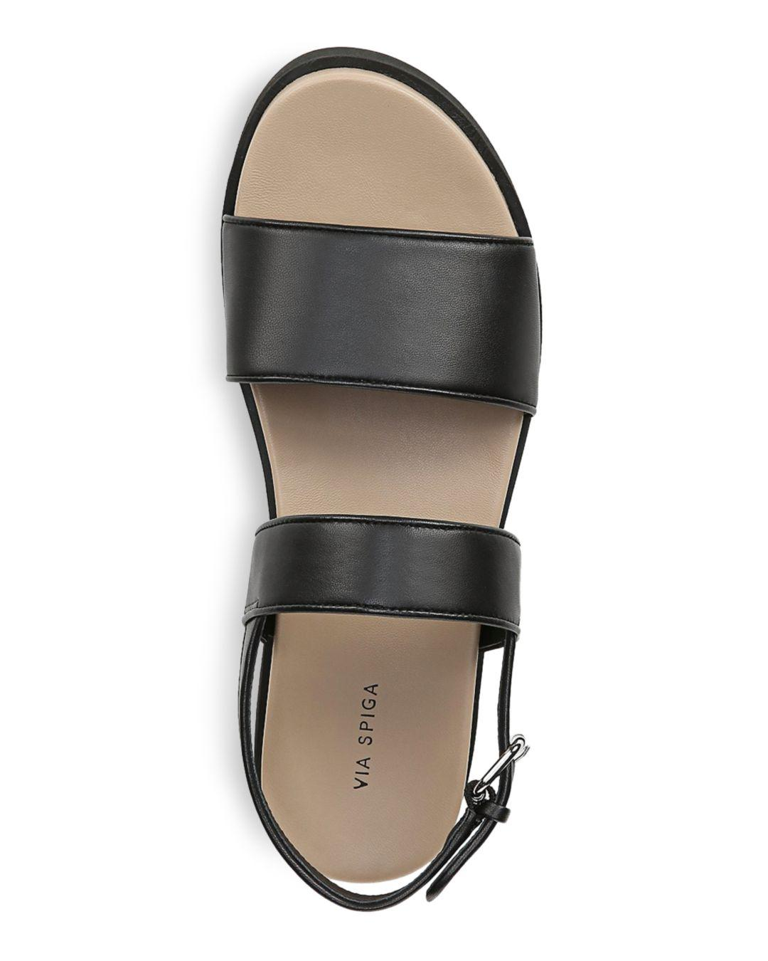 ce15e07e4549 Via Spiga - Black Women s Davi Leather Platform Sandals - Lyst. View  fullscreen