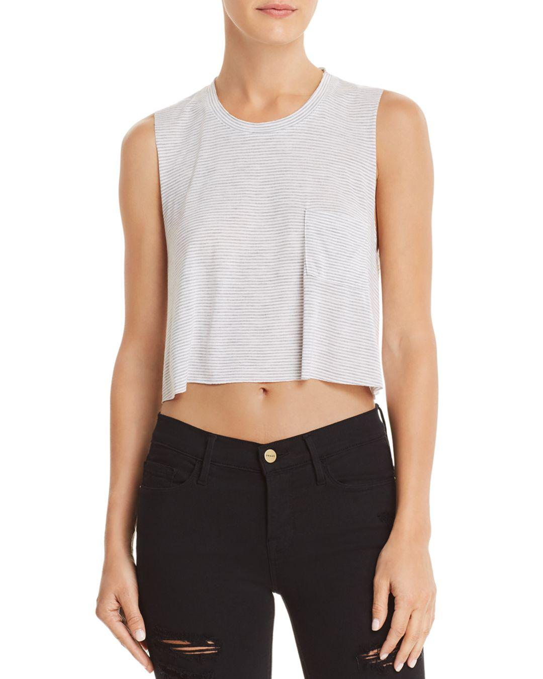 5502f986ff4 Lyst - Project Social T Save It Striped Cropped Tank