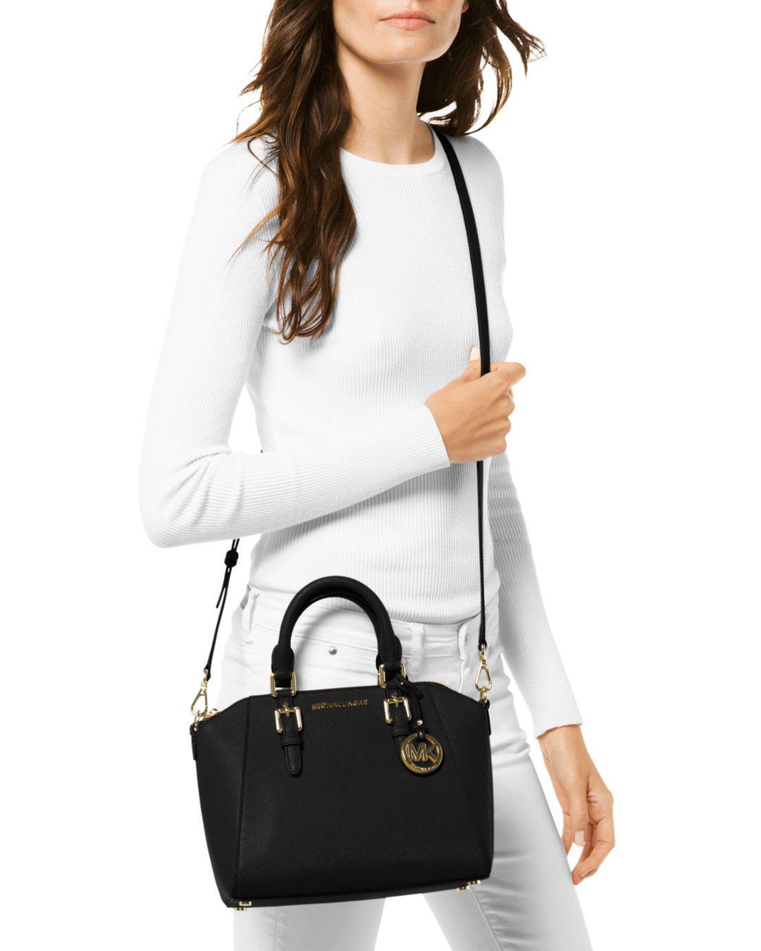 78f3cc4be213 Lyst - MICHAEL Michael Kors Ciara Medium Leather Messenger Bag in Black