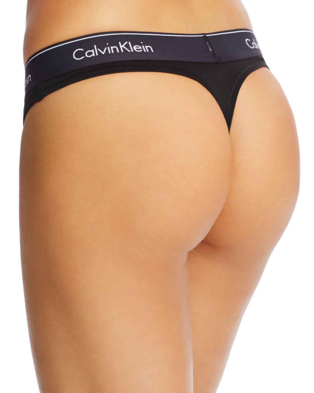 a7c6a57e41dd Calvin Klein Modern Cotton Thong in Black - Lyst