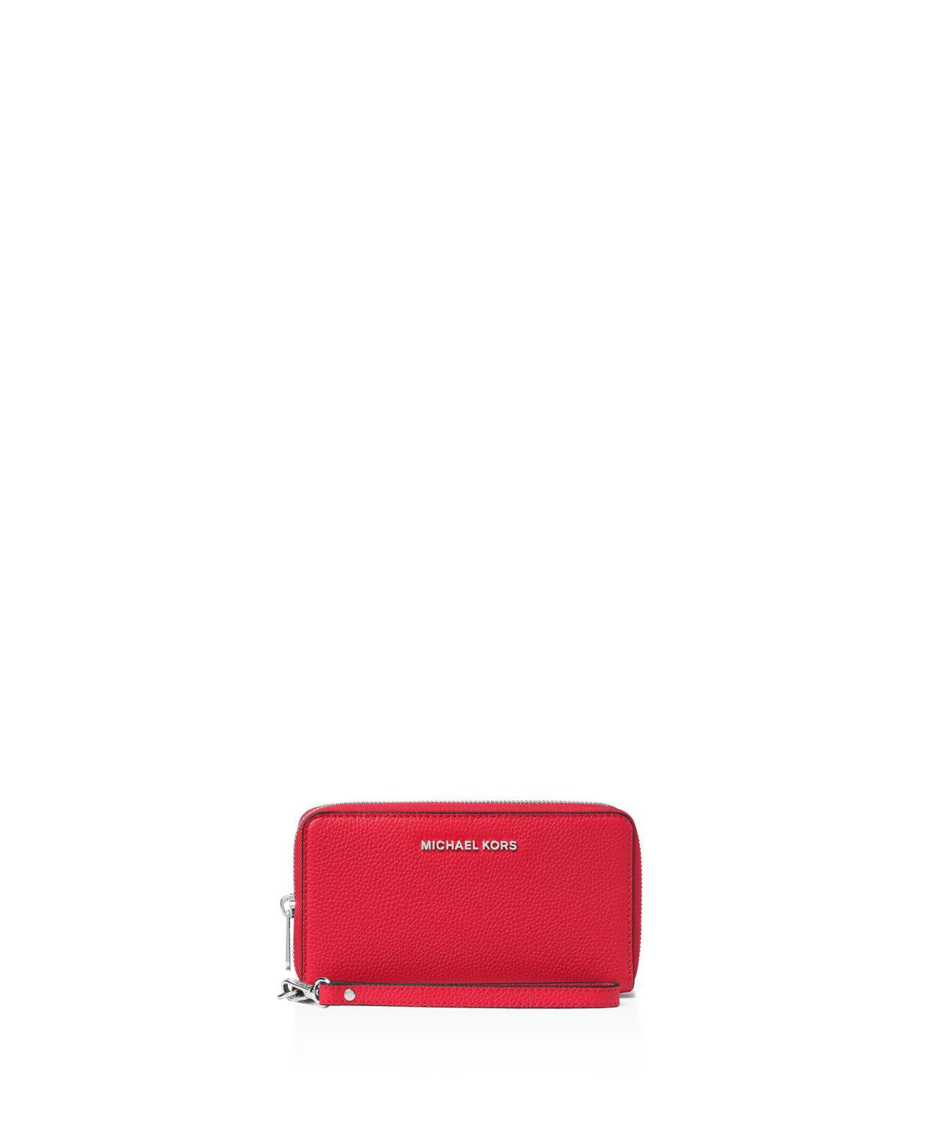 7341a0e6730cf7 Lyst - Michael Kors Mercer Large Flat Multi Function Phone Case in Red