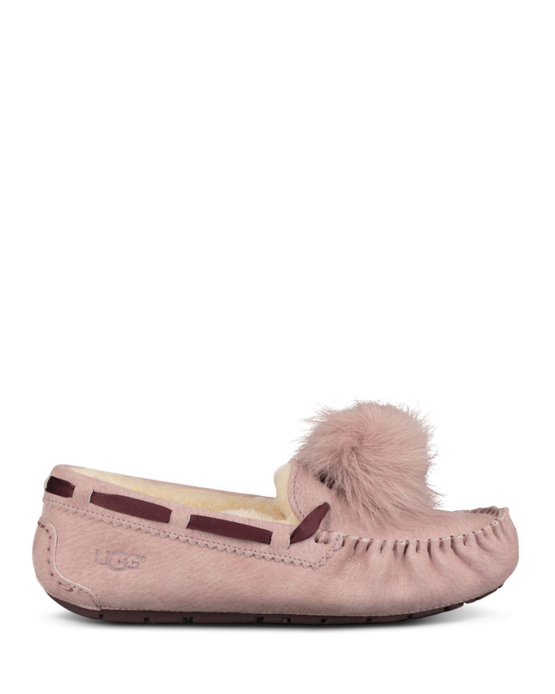 bd159dfb2d Lyst - UGG Women s Dakota Fur Pom-pom Suede Loafers - Chestnut - Size 9 in  Pink - Save 47%