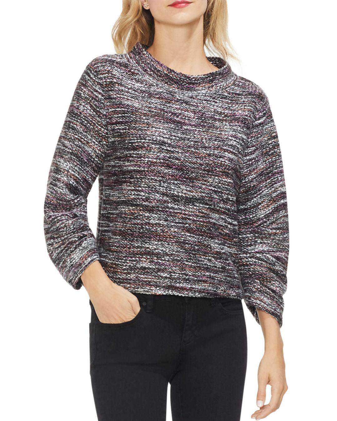 67175fd25d4 Lyst - Vince Camuto Multicolored Boucle Mock Neck Top in Gray