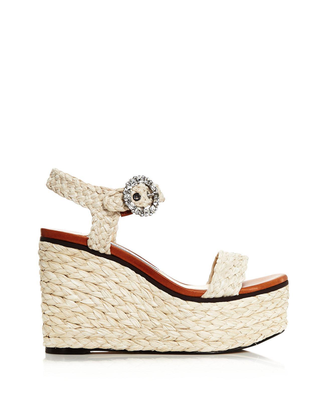 Jimmy choo Women's Nylah 100 Braided Raffia Wedge Sandals qimxQ2RE