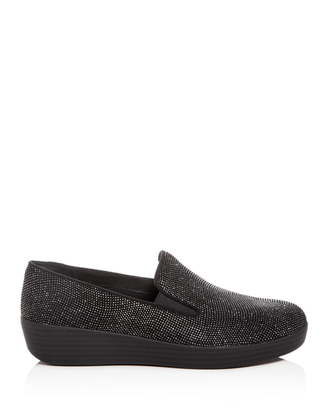6ea97b68aea41b Lyst - Fitflop Women s Superskate Embellished Loafers in Black