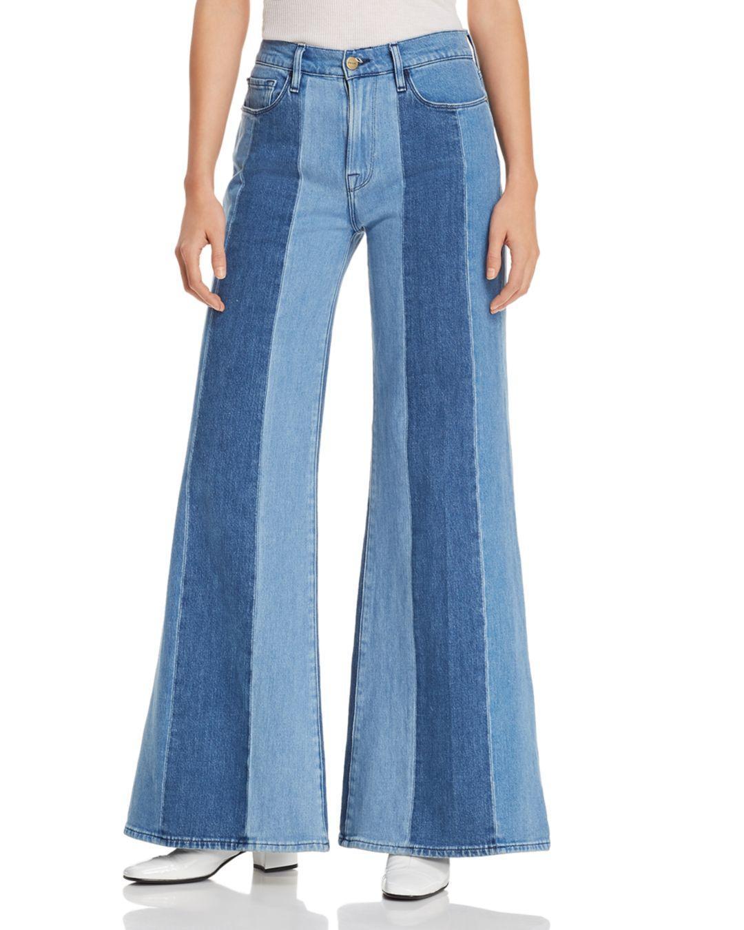 baa78b94d1 Lyst - FRAME Le Palazzo Paneled Wide-leg Jeans In Vineyard in Blue ...