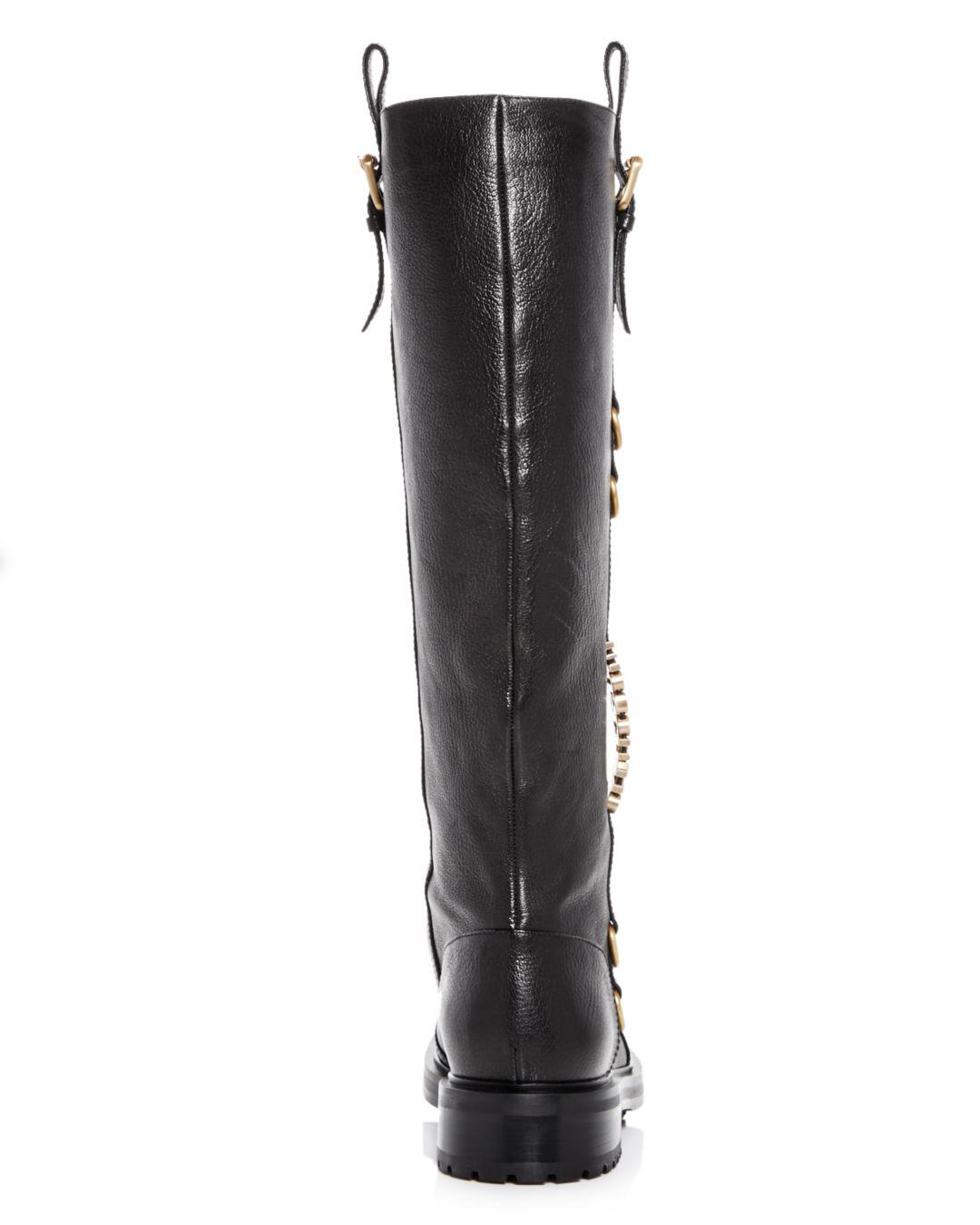 58f974871cf Moschino - Black Women s Logo Leather Riding Boots - Lyst. View fullscreen