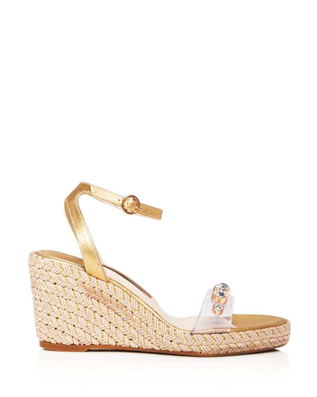 9106d76b3 Lyst - Sophia Webster Women s Dina Open Toe Jeweled Wedge Espadrille Sandals  in Metallic