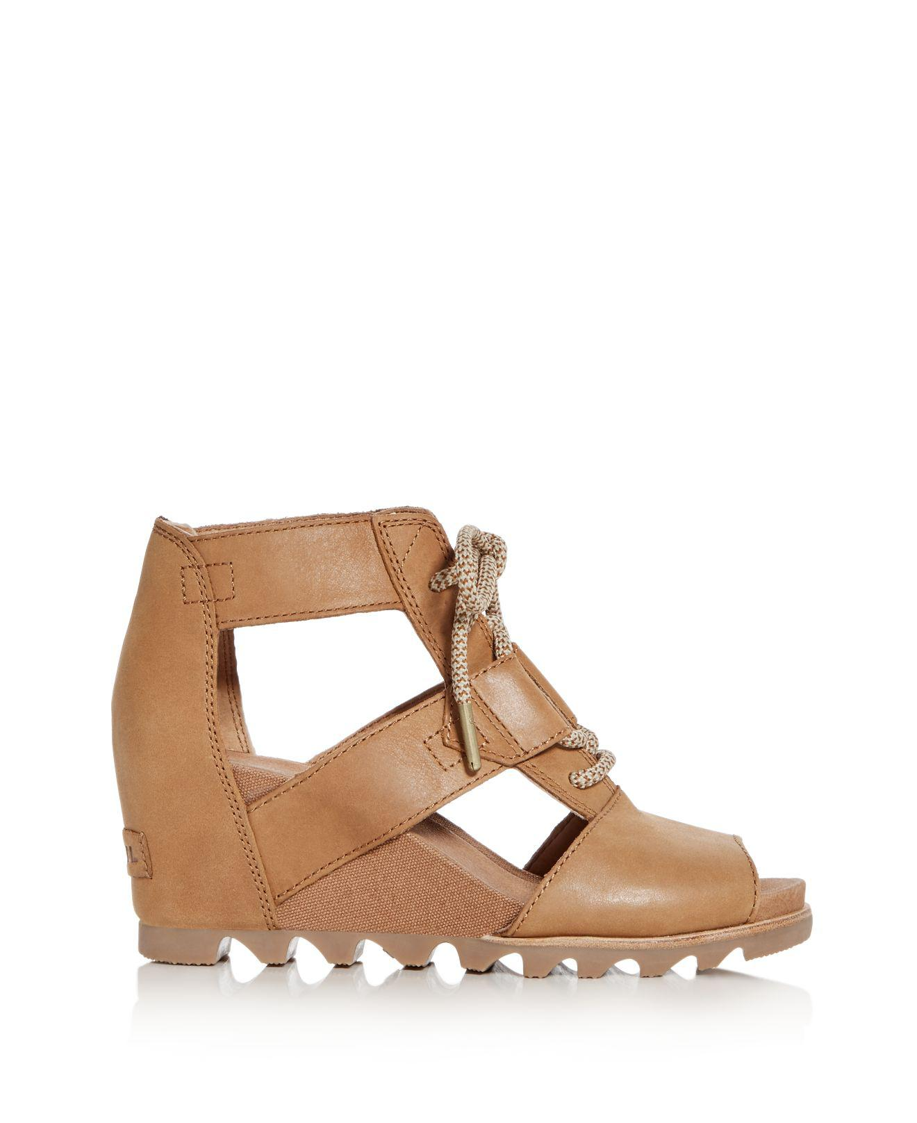 sorel Women's Joanie Nubuck Leather Platform Wedge Sandals