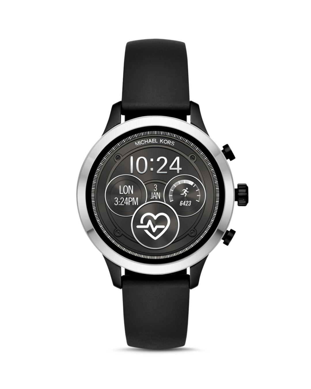 01a61ae5f62c Michael Kors - Black Mkt5049 Runway Stainless Steel And Rubber Smartwatch -  Lyst. View fullscreen