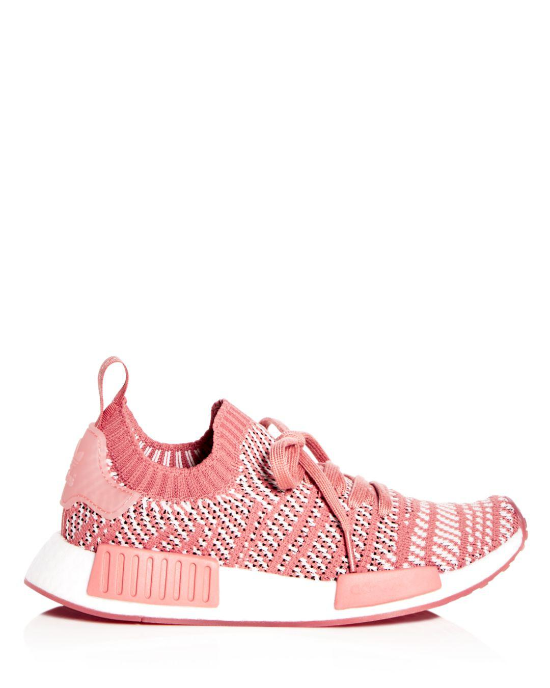 81481449a5a80 Lyst - adidas Women s Nmd R1 Knit Lace Up Sneakers in Pink
