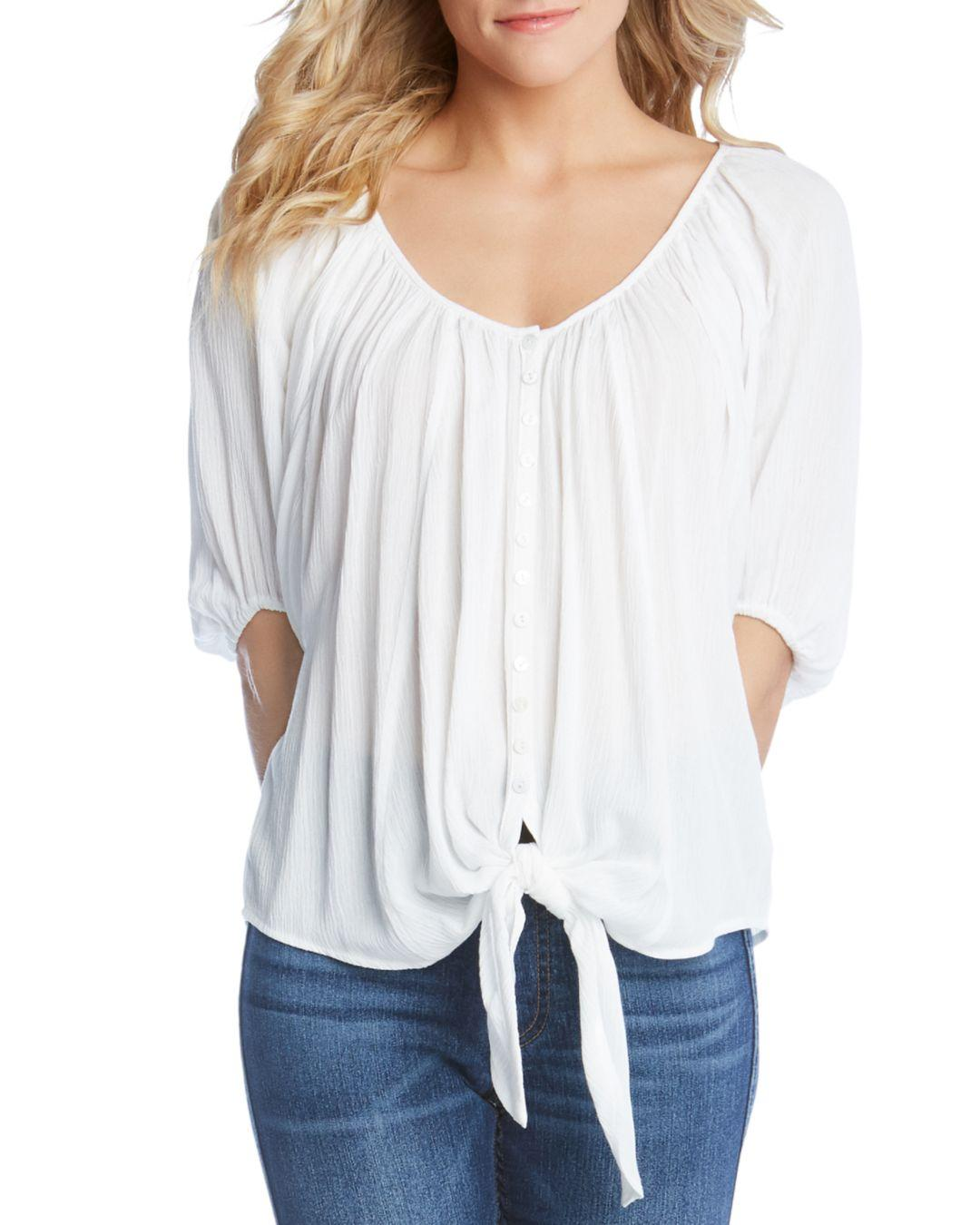 402a7ade27784c Lyst - Karen Kane Tie-front Top in White - Save 65%