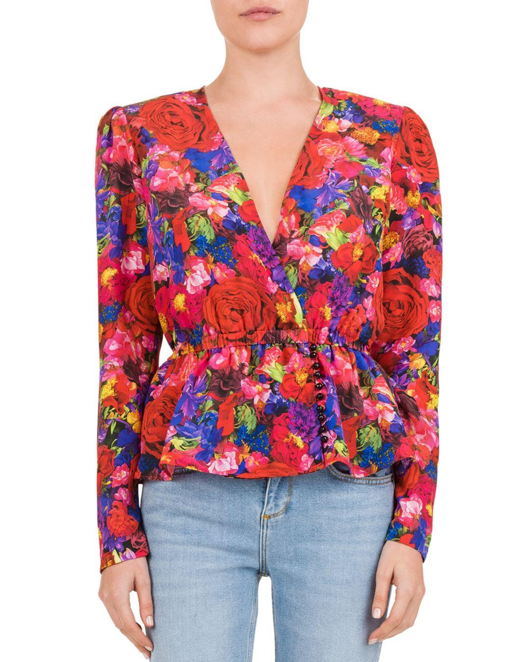 57a801226de381 The Kooples Summer Night Floral Silk Blouse in Red - Lyst