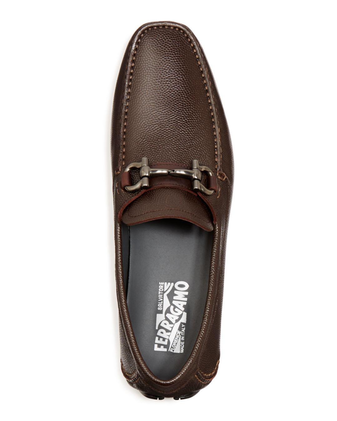 91a15c82fbf Ferragamo - Brown Parigi Pebbled Leather Loafers for Men - Lyst. View  fullscreen