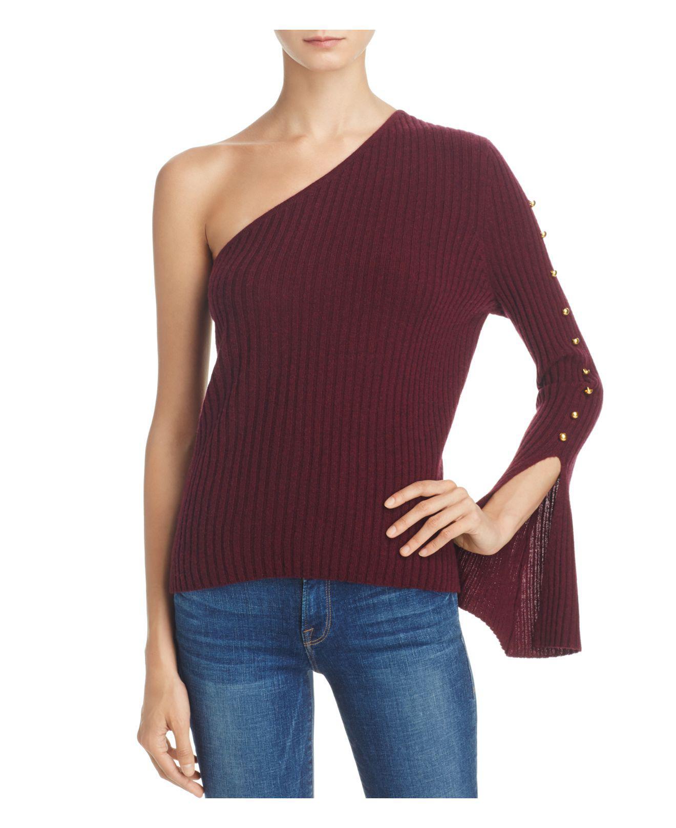 lyst aqua cashmere ribbed one shoulder sweater in purple. Black Bedroom Furniture Sets. Home Design Ideas
