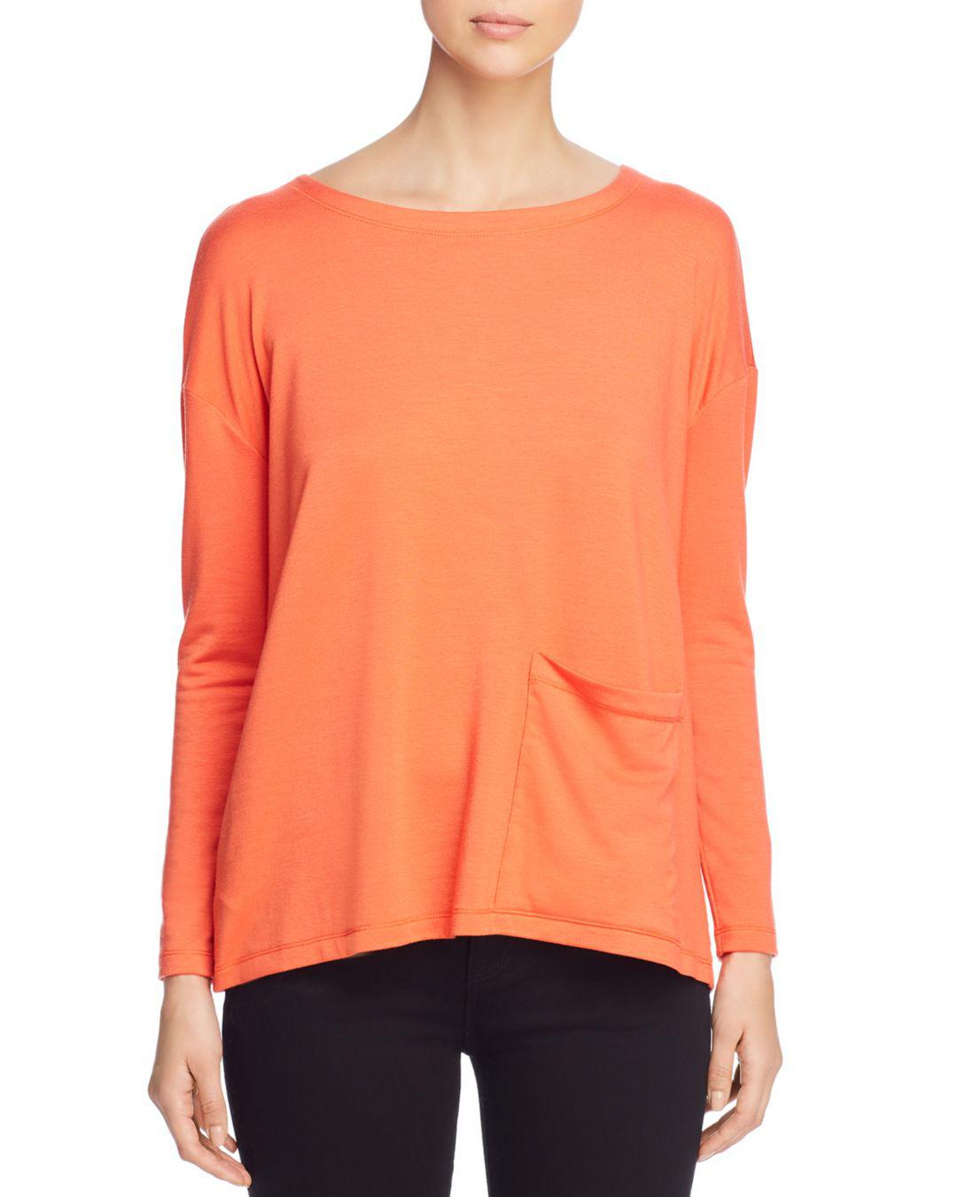 00efcf03283 Eileen Fisher Long-sleeve Boat-neck Top in Orange - Lyst