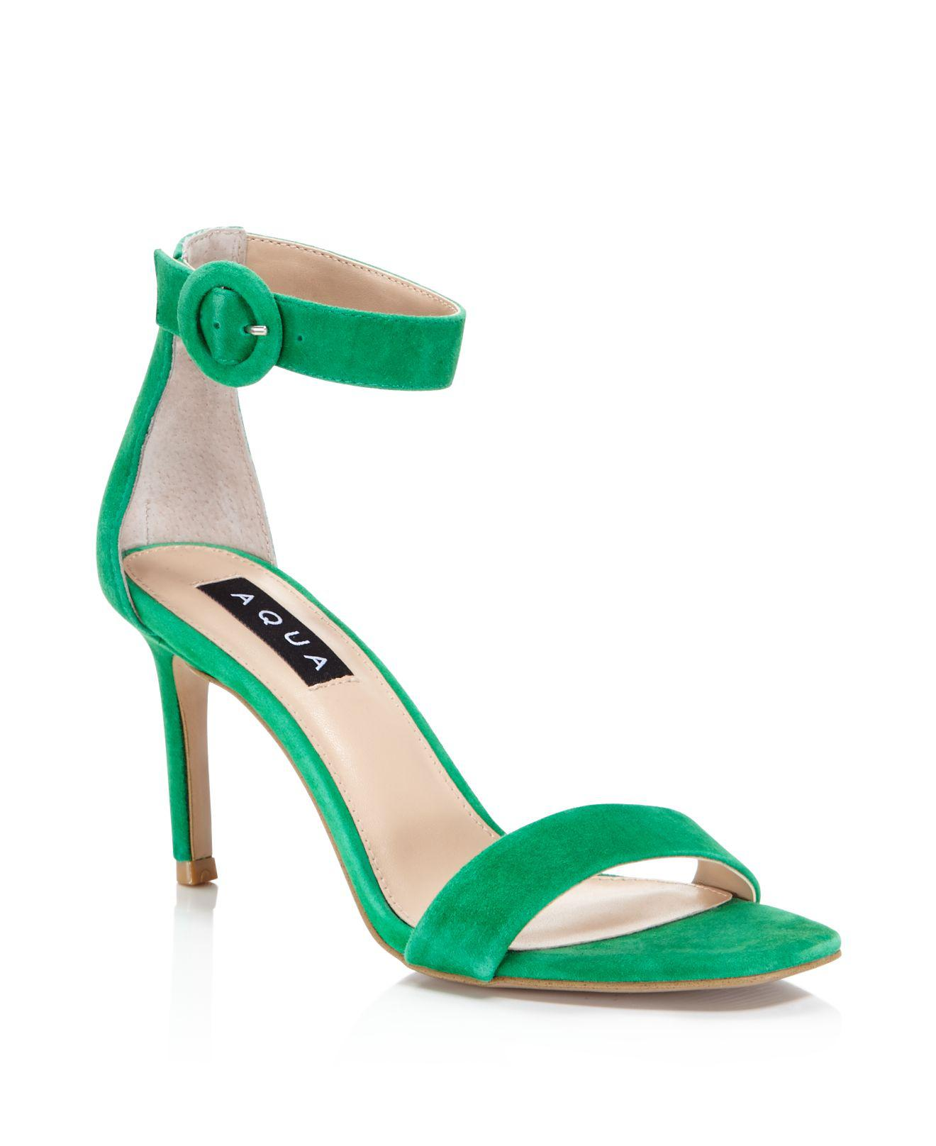 Aqua Women's Seven Suede High-Heel Ankle Strap Sandals - 100% Exclusive OtUXpT