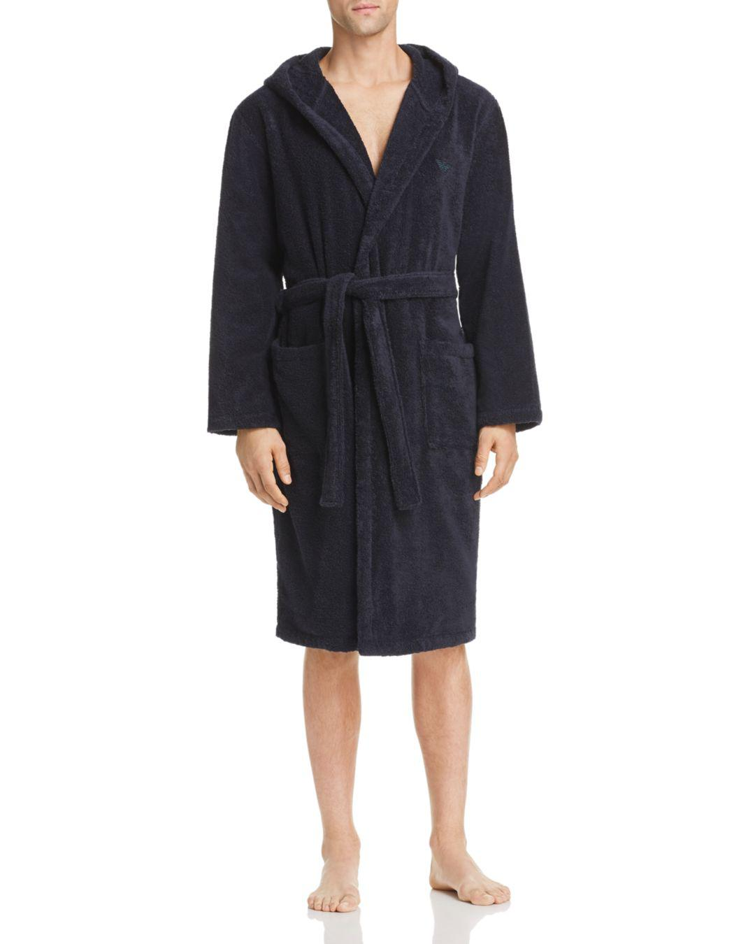 1dcae489c1 Lyst - Emporio Armani Plush Bathrobe in Blue for Men