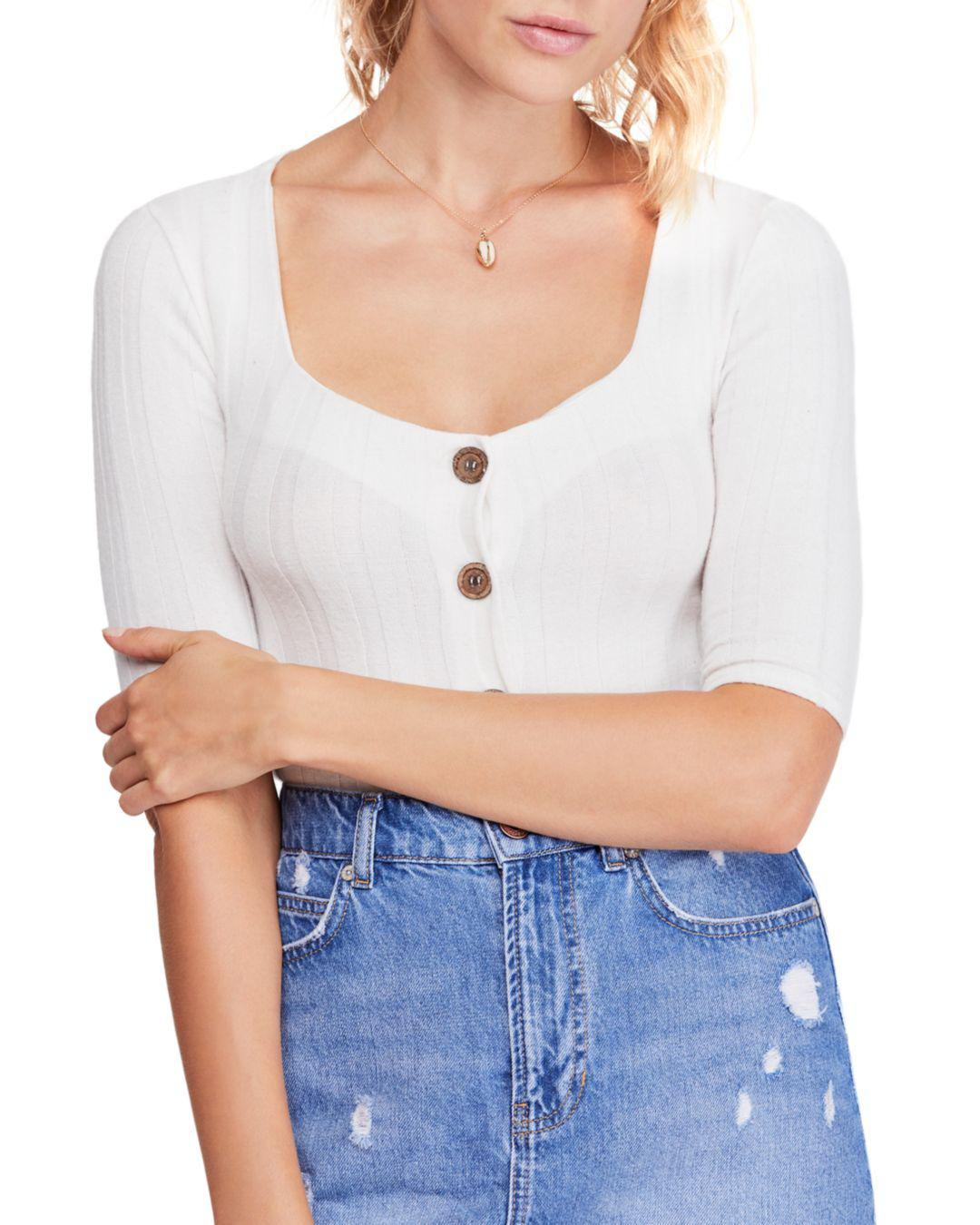 7707254b07419 Lyst - Free People Central Park Ribbed Top in White