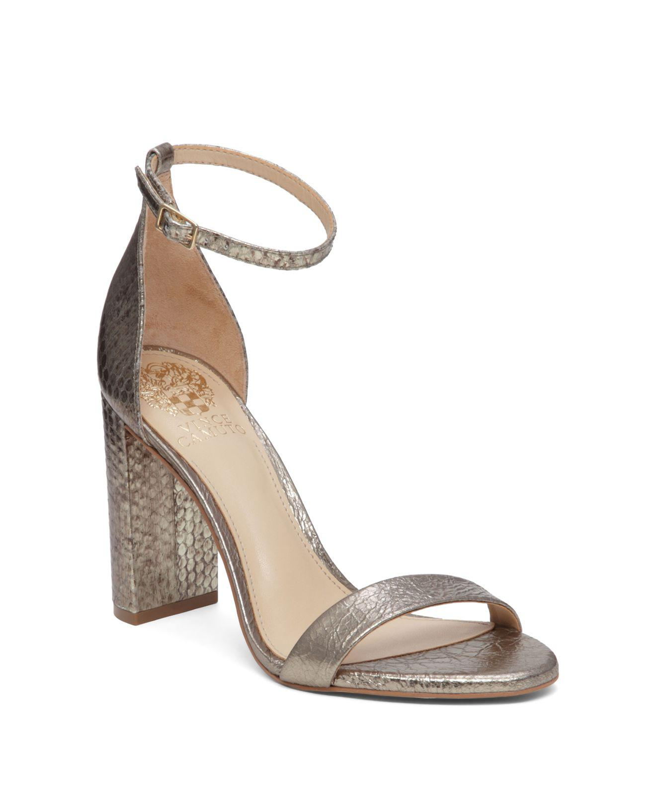 Vince Embossed Ankle-Strap Sandals 2015 new online 4vykl7bDy