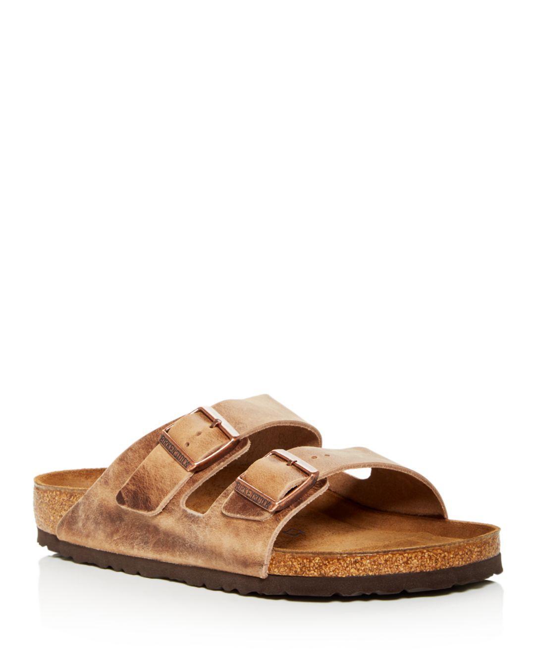 075362646332 Birkenstock - Brown Men s Arizona Oiled Leather Slide Sandals for Men -  Lyst. View fullscreen