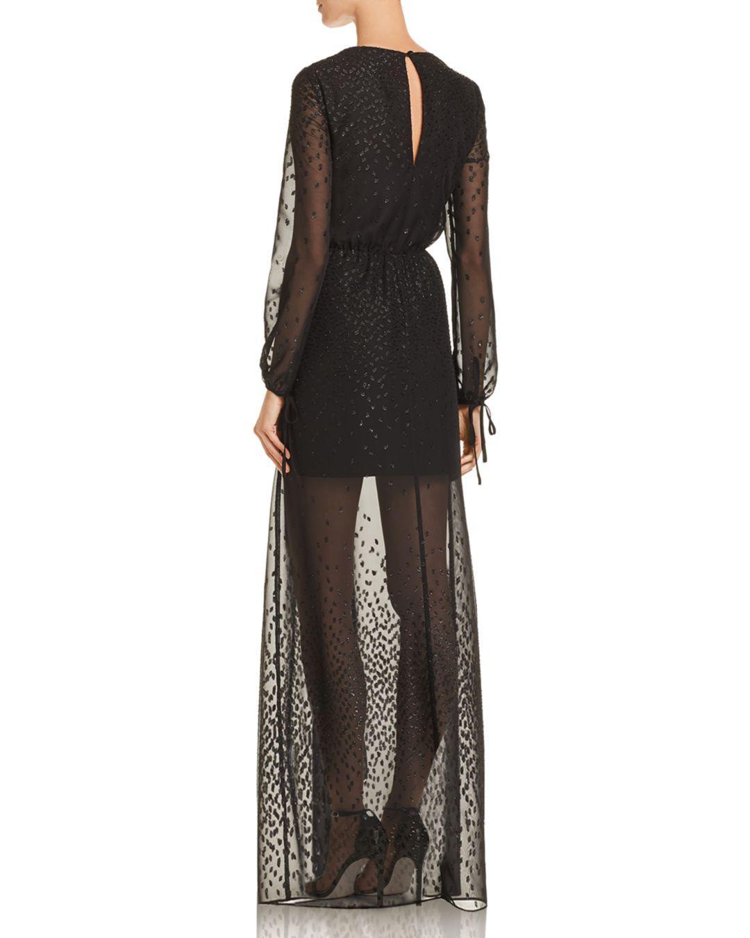 43fc472bc519 Lyst - Aqua Embroidered Chiffon Maxi Dress in Black