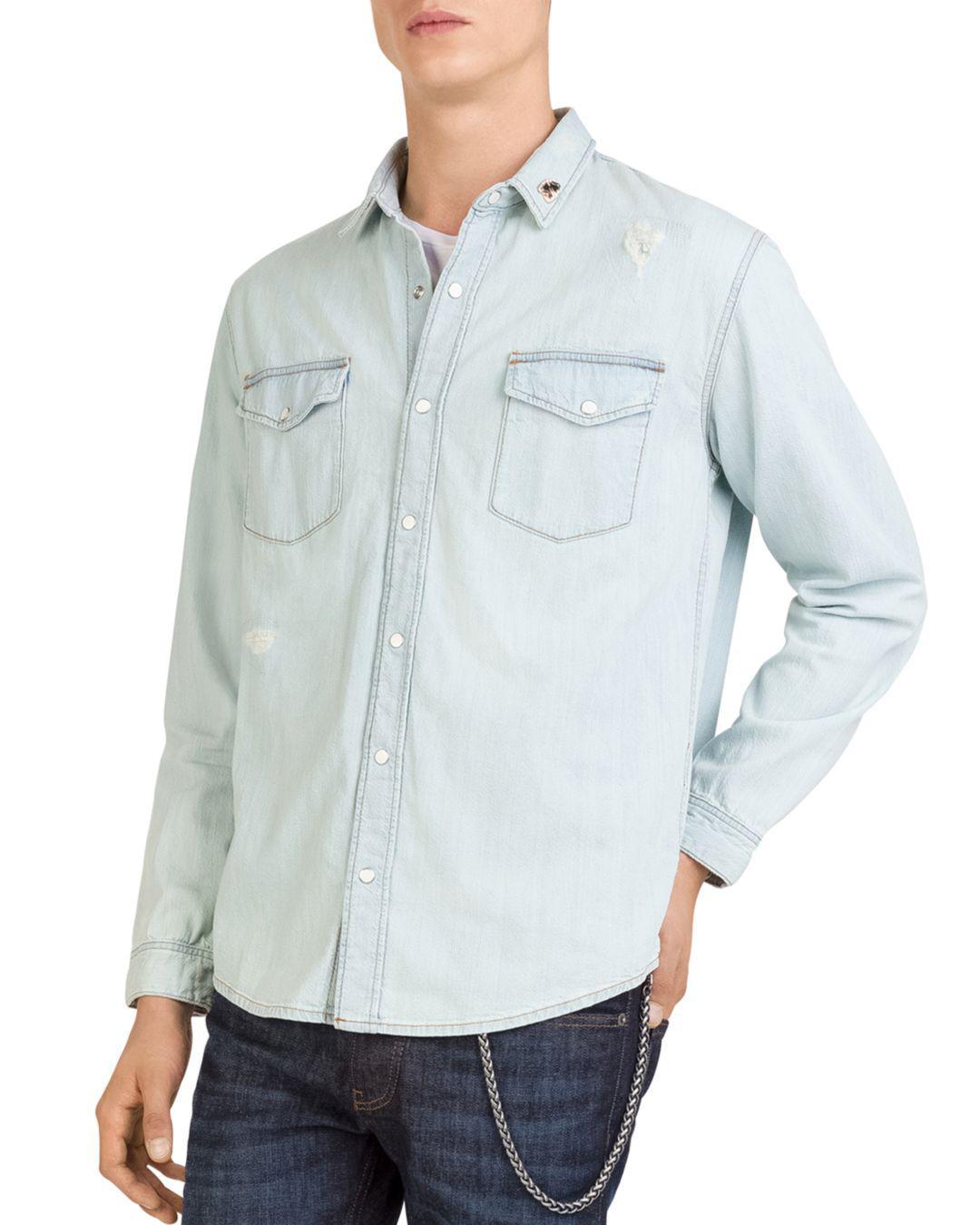 de2f3a7071f Lyst - The Kooples Distressed Denim Shirt in Blue for Men