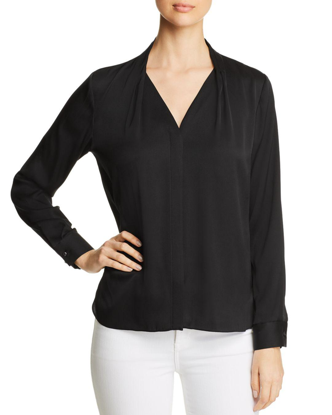 56088ae716d6 Lyst - Elie Tahari Rosalina Pleated V-neck Blouse in Black