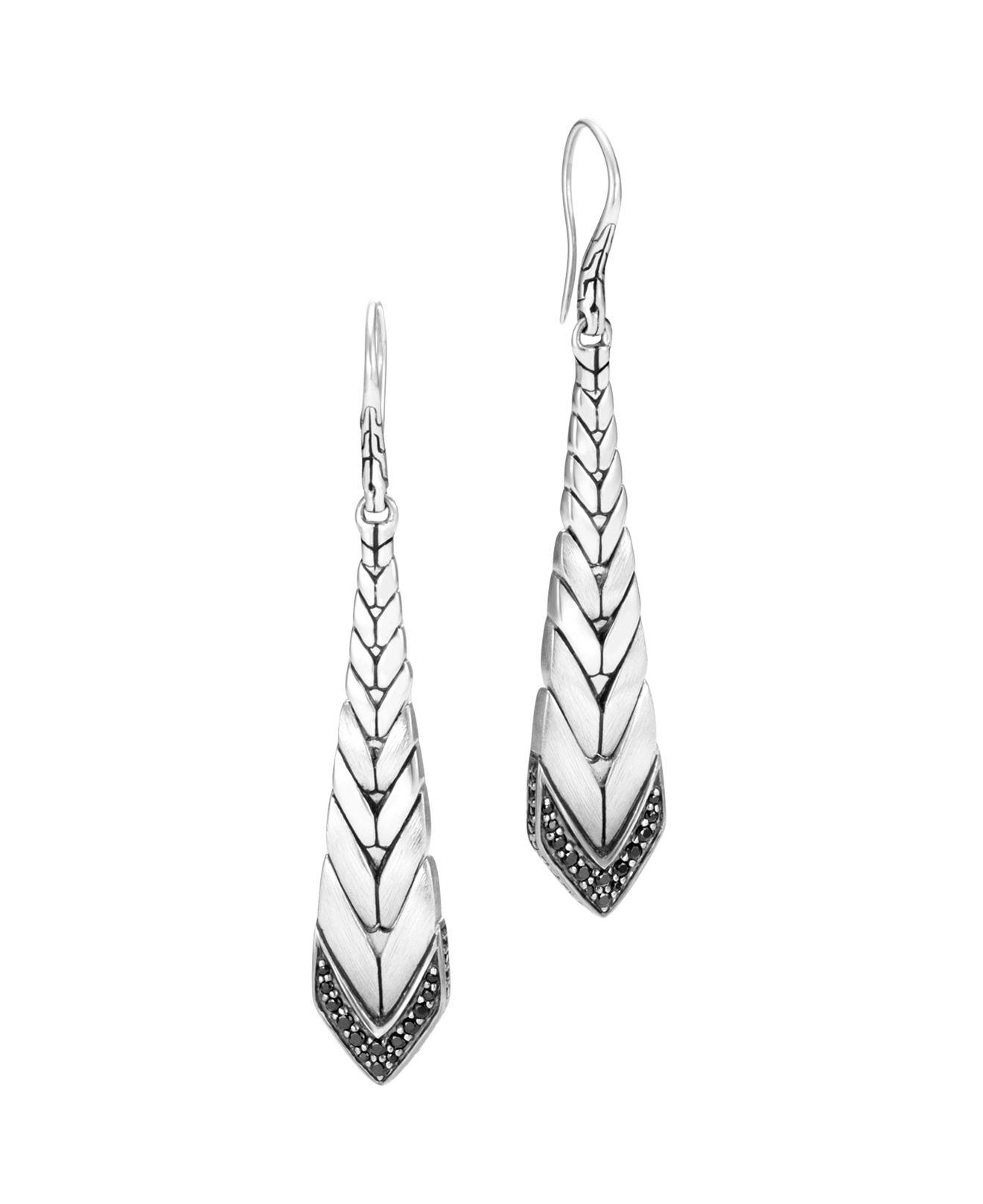 John Hardy Legends Naga Silver Long Drop Earrings with Black Sapphire & Spinel F8pVbuvTgJ