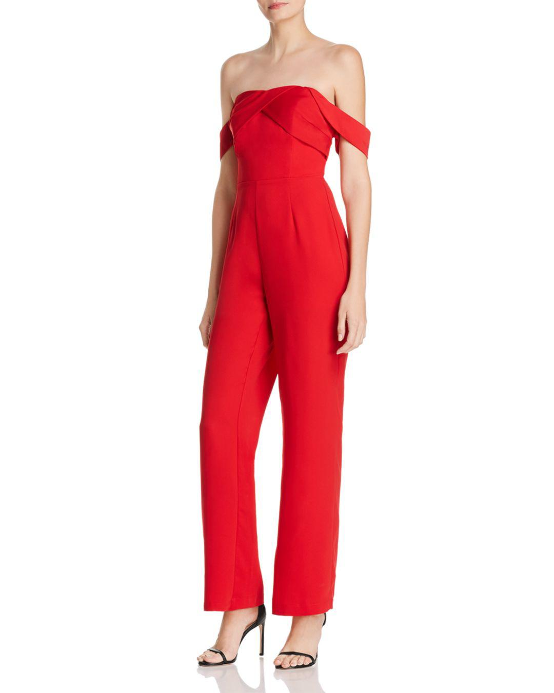 9947e7b8426 Lyst - Adelyn Rae Woven Strapless Jumpsuit in Red