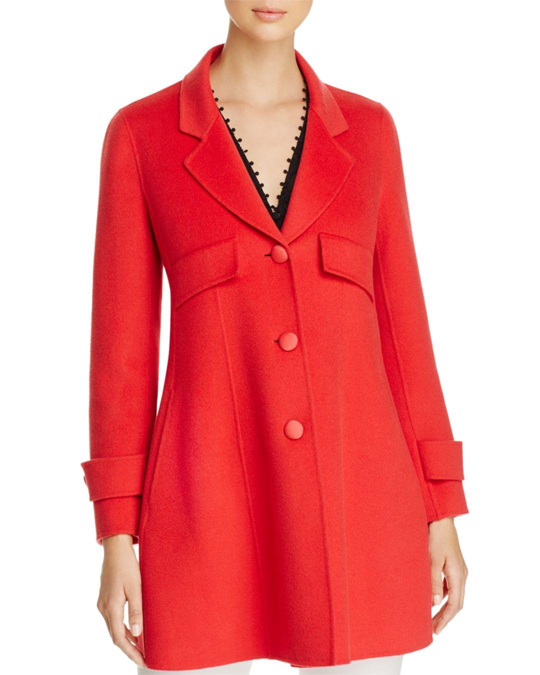 be0fb0d3c8b8d Armani Emporio Fitted Wool   Cashmere Coat in Red - Lyst