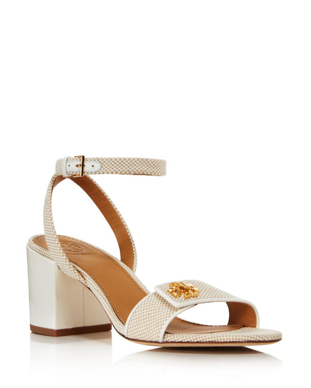 bdd3d57ba8fc Tory Burch Women s Kira Block Heel Sandals in Natural - Lyst