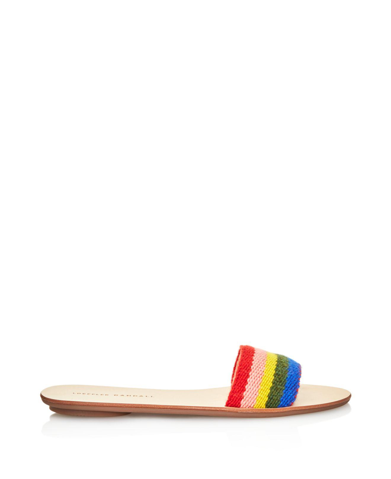Loeffler Randall Women's Stella Alpaca Rainbow Slide Sandals iZQ1UTW