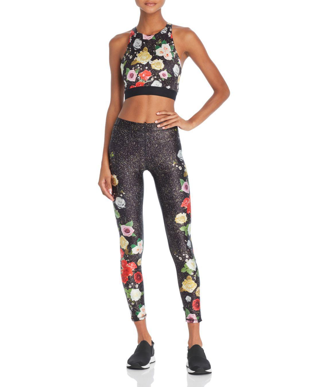 ddfb7d075d Lyst - Terez Floral Glitter Print Sports Bra in Black