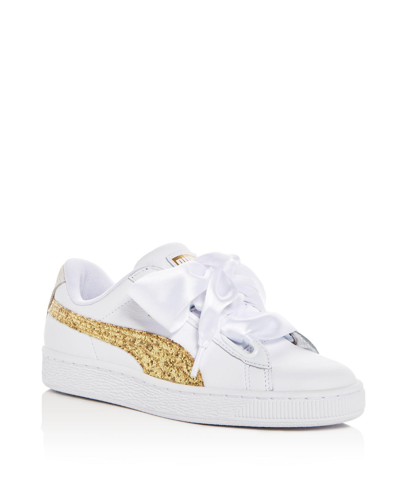 Puma Women's Basket Heart Canvas & Glitter Lace Up Sneakers NJS1J