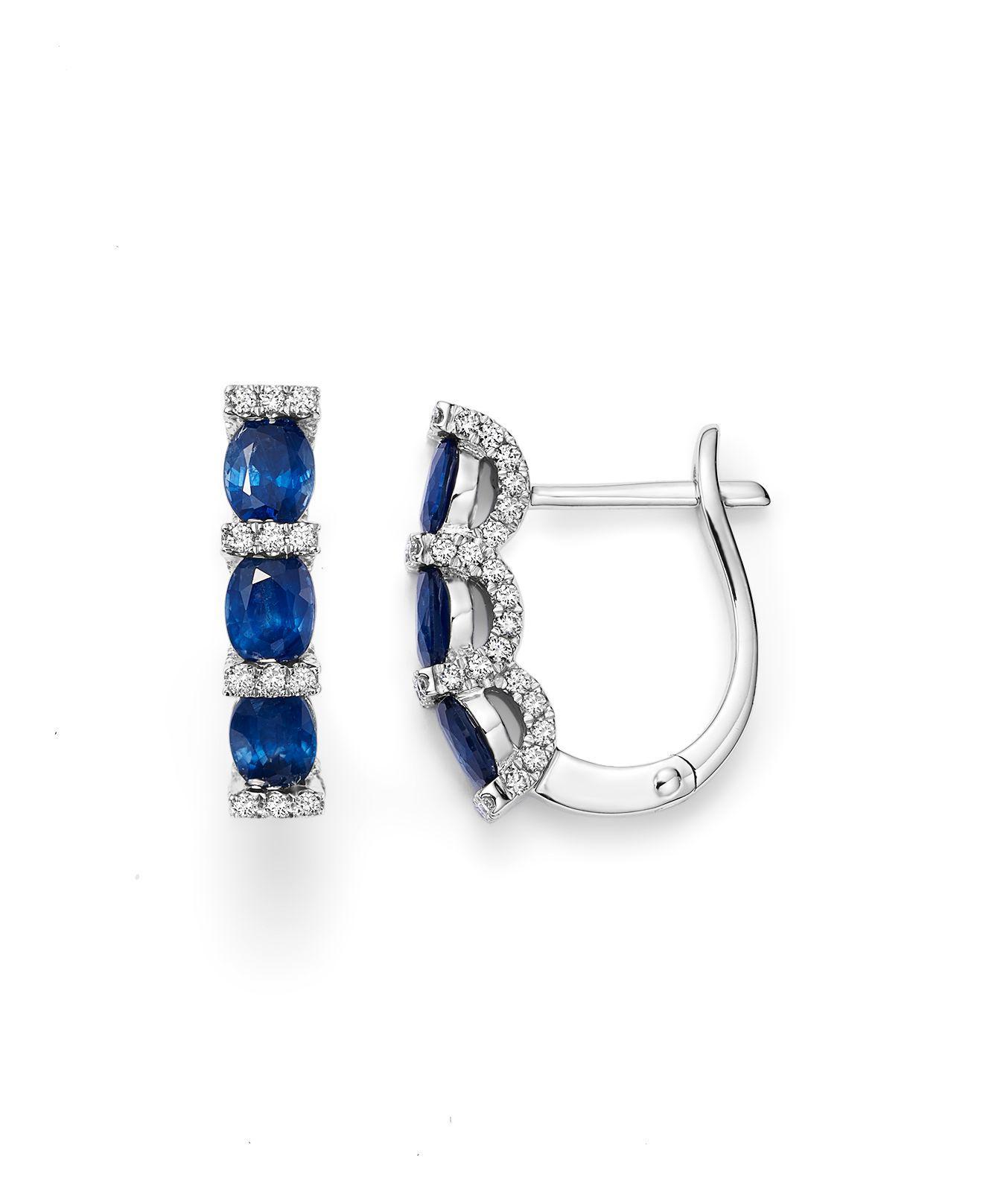 Bloomingdale S Women Shire Oval And Micro Pavé Diamond Huggie Hoop Earrings