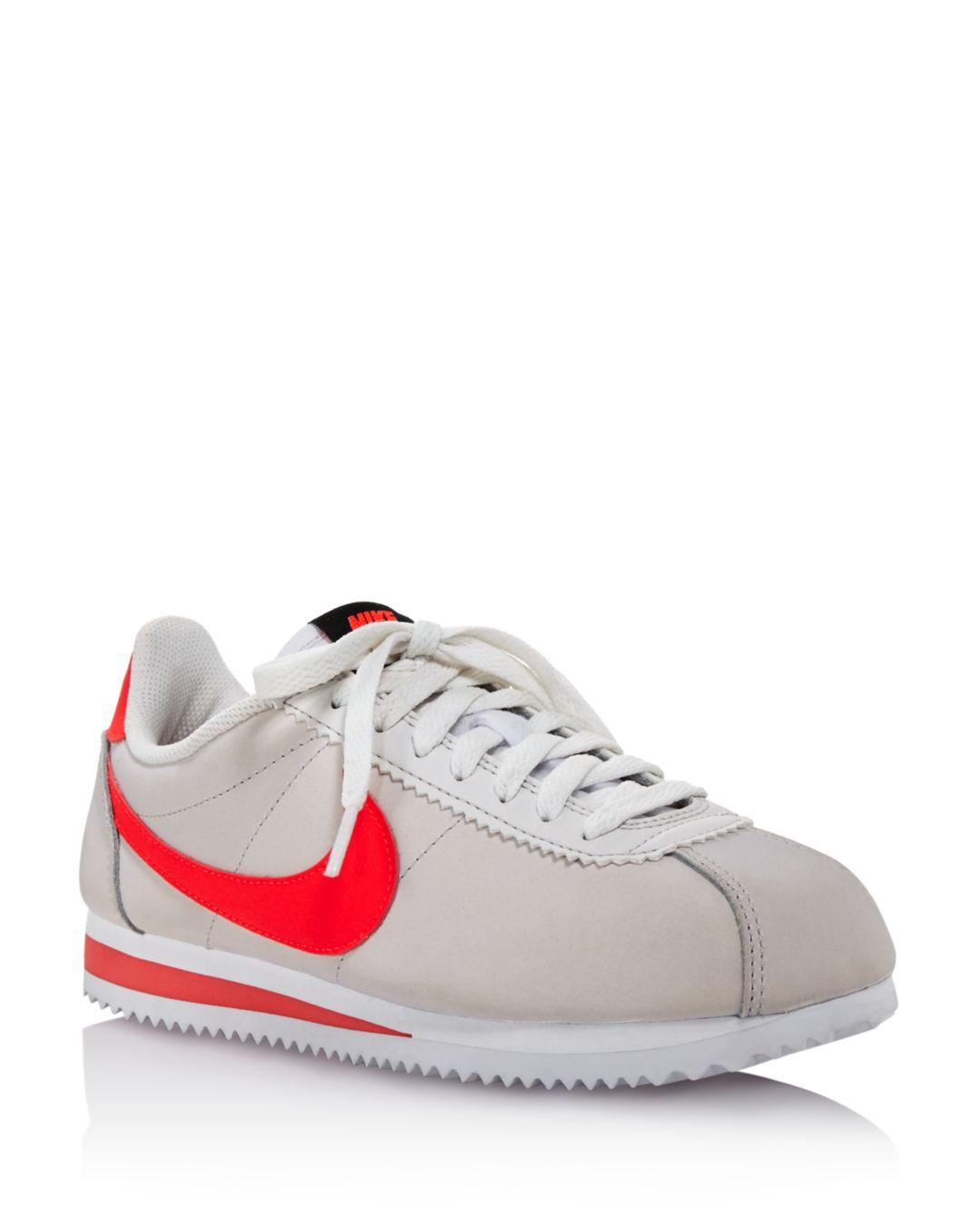53b480584c0 Lyst - Nike Women s Classic Cortez Leather Lace Up Sneakers in White ...