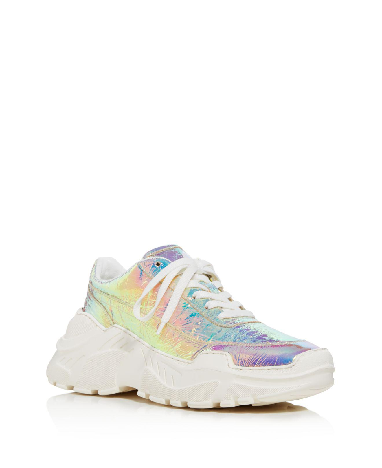 JOSHUA SANDERS Women's Leather & Holographic Foil Lace Up Sneakers 9nnSErNZZ