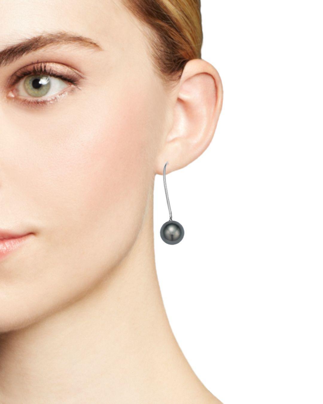 Lyst Tara Pearls 18k White Gold Cultured Tahitian Pearl Threader Earrings In