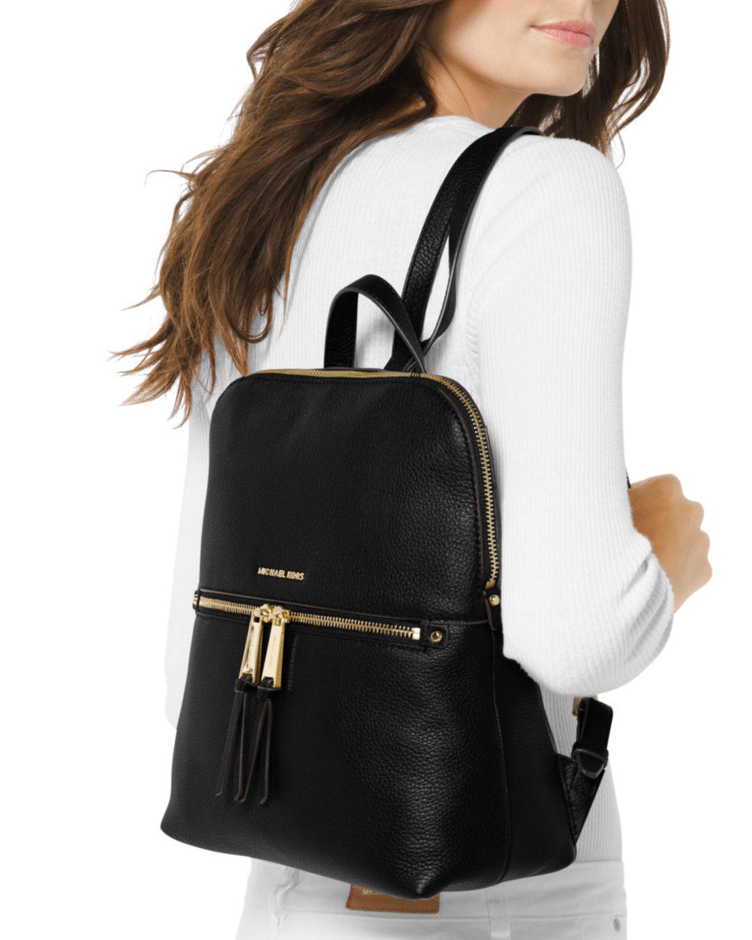 fae677ca837f6 Lyst - MICHAEL Michael Kors Rhea Medium Slim Backpack in Black