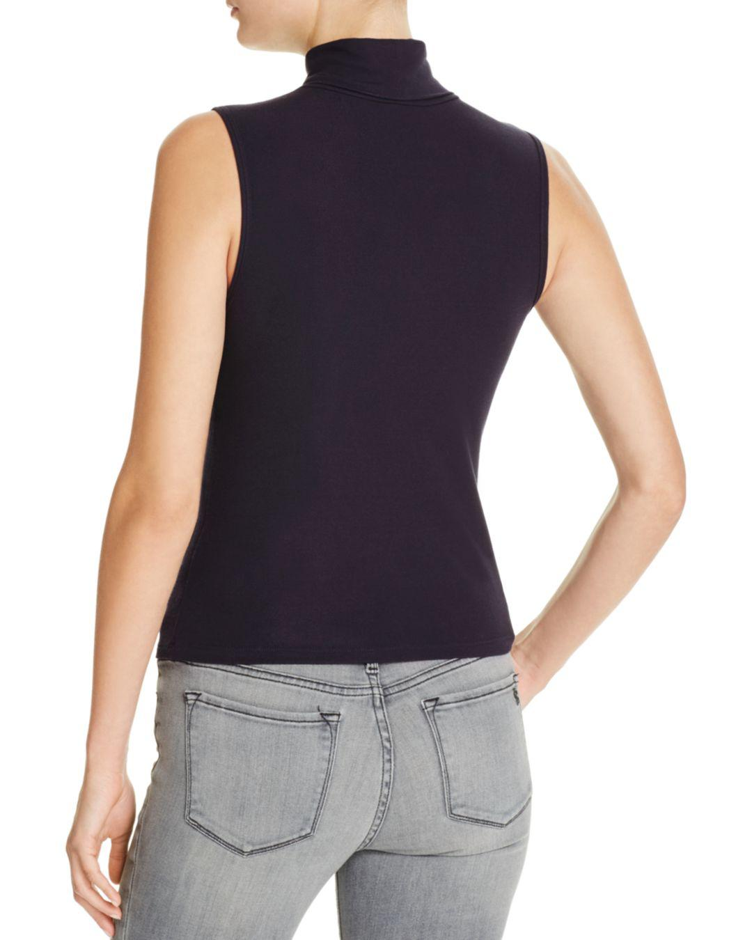 96308c50e06fe Lyst - Theory Wendel Sleeveless Turtleneck Top in Blue