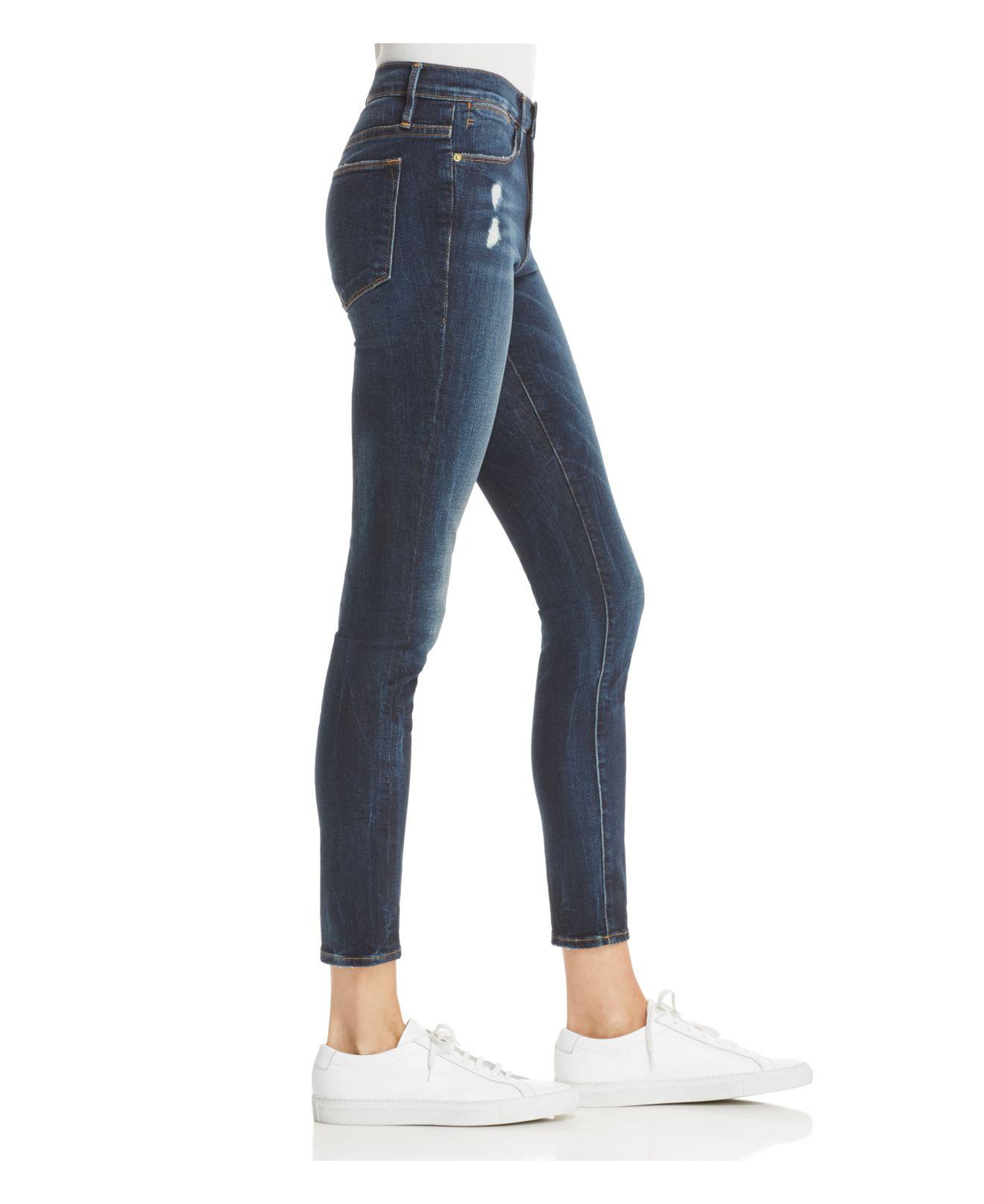 5abe2fae647 FRAME Le High Distressed Skinny Jeans In Oasis in Blue - Lyst