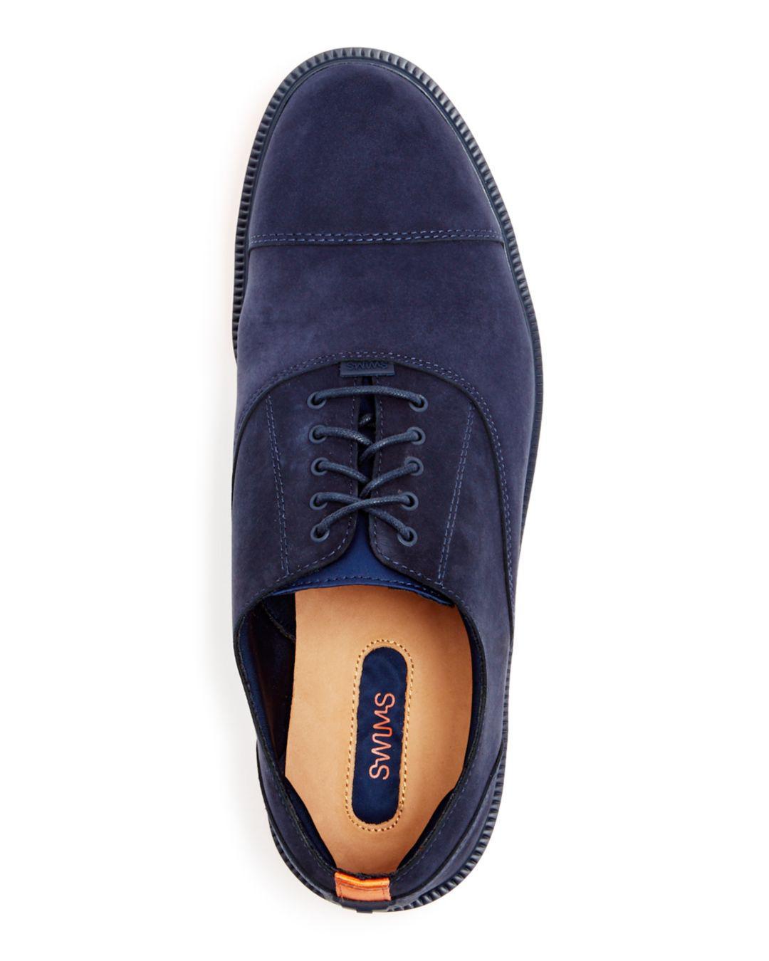 43c1b31b720f Swims Men s Motion Nubuck Leather Cap Toe Oxfords in Blue for Men - Lyst