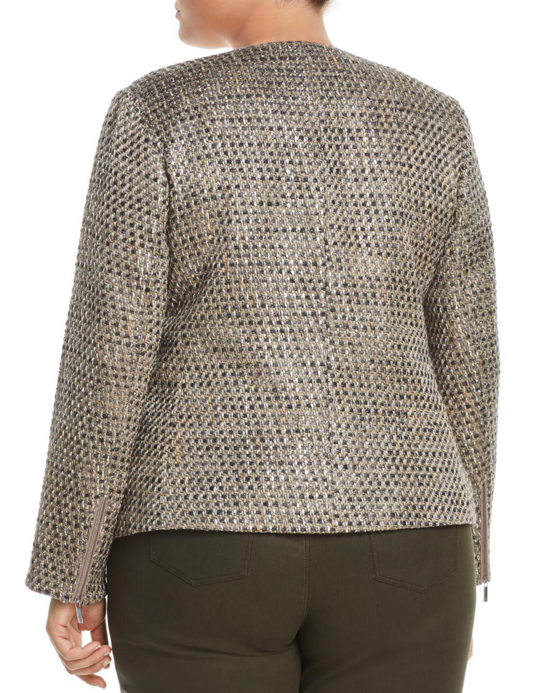 9b663d95760 Lafayette 148 New York. Women s Trista Suede-trimmed Metallic Tweed Jacket