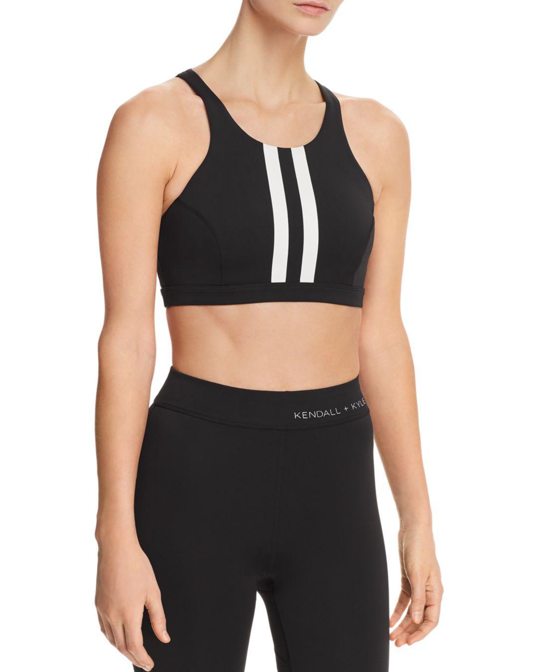 69e790b258 Kendall + Kylie Racing Stripe Sports Bra in Black - Lyst