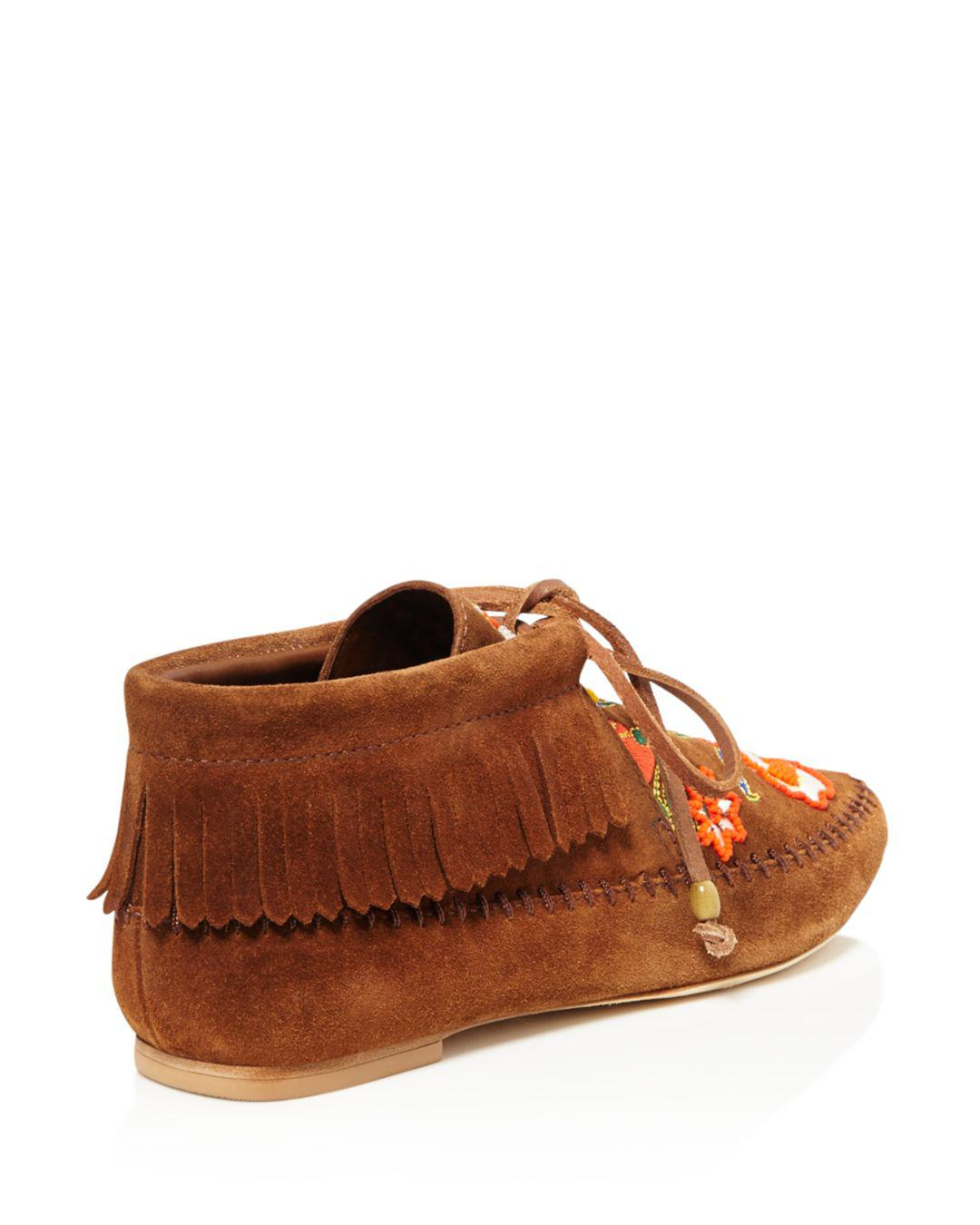 3e98495fd36 Lyst - Tory Burch Huntington Bead Embroidered Fringe Booties in Brown
