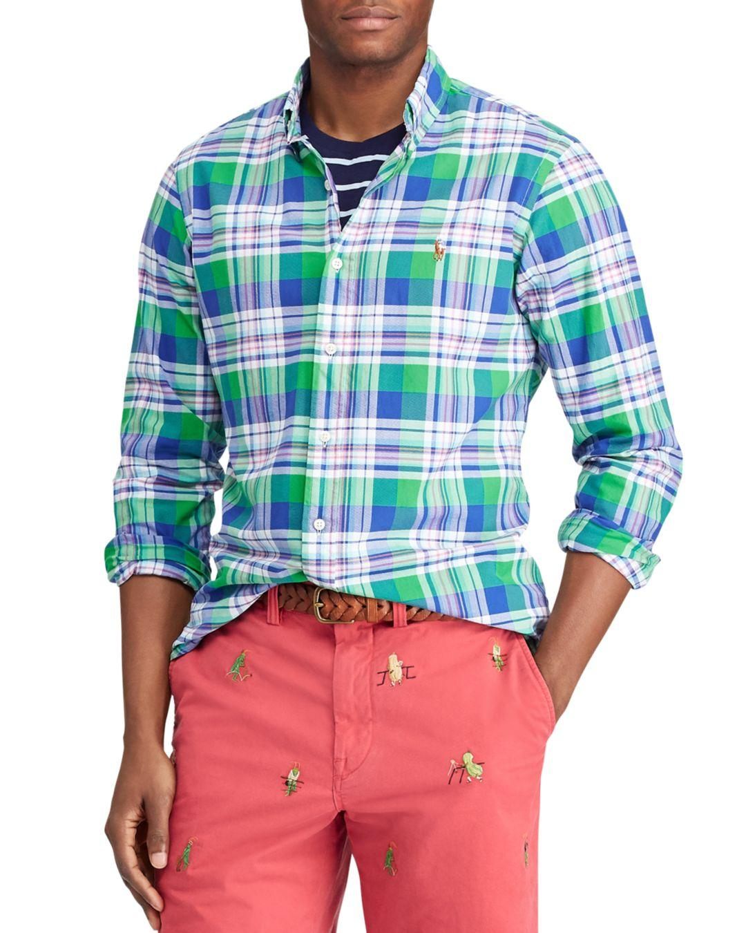 161e8b90a Polo Ralph Lauren Plaid Slim Fit Button - Down Oxford Shirt in Blue ...