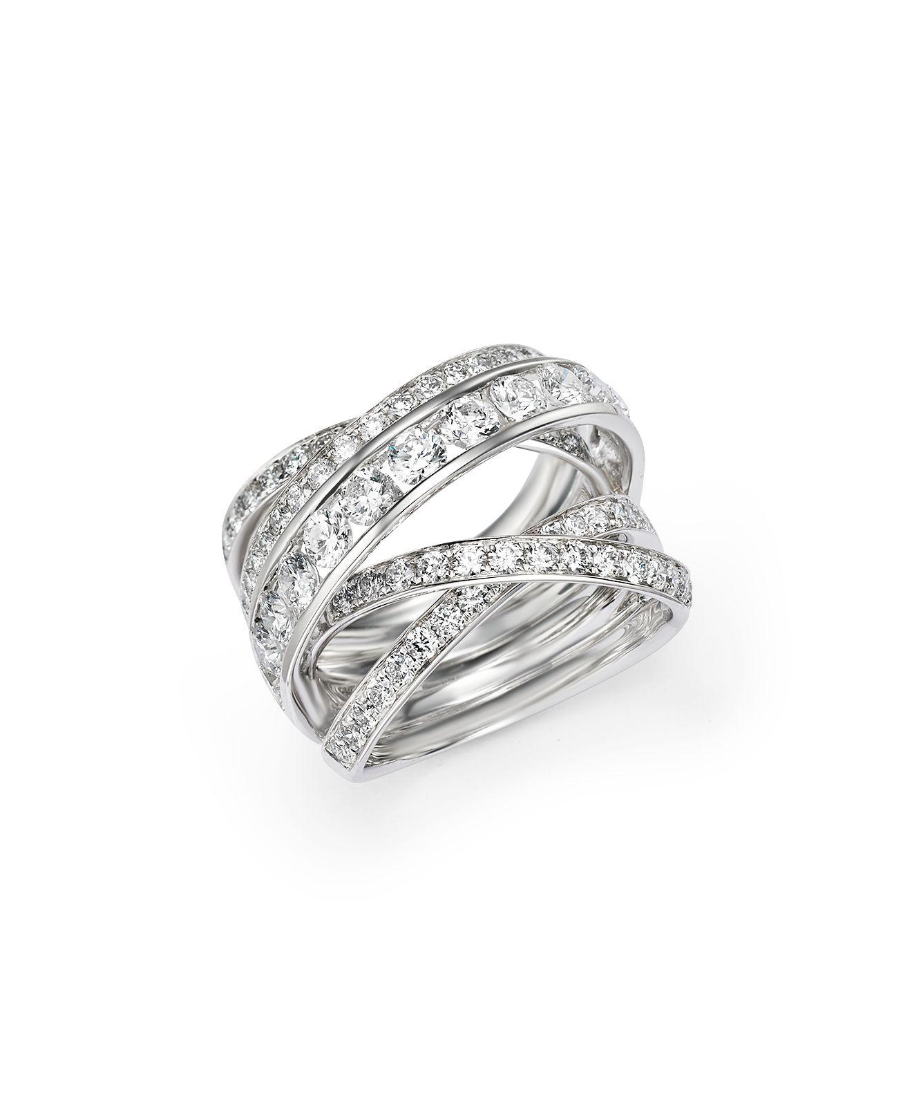 Lyst BloomingdaleS Diamond Crossover Ring In 14k White Gold 30
